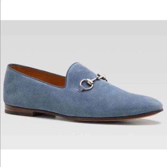 Gucci Horsebit Light Blue Suede Loafers